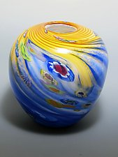Dual Color Floral-Round by Mark Rosenbaum (Art Glass Vase)