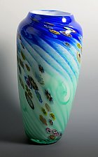 Dual Color Floral - Tall by Mark Rosenbaum (Art Glass Vase)