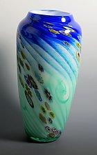 Dual Color Floral - Tall by Mark Rosenbaum (Art Glass Vase)