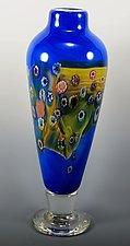 Floral Colorfield Vase by Mark Rosenbaum (Art Glass Vase)