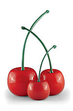 Green-Stemmed Cherries by Donald  Carlson (Art Glass Sculpture)
