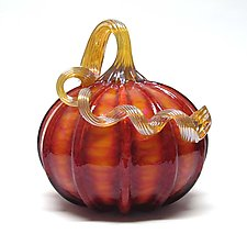 Harvest Pumpkin by Ken Hanson and Ingrid Hanson (Art Glass Sculpture)