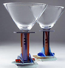 Amber Jazz Martini by George Ponzini (Art Glass Stemware)