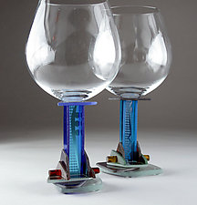 Blue Jazz Red Wine by George Ponzini (Art Glass Stemware)