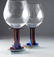 Ambra Jazz Red Wine by George Ponzini (Art Glass Stemware)
