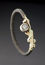 Steel Twiggy Ring by Peg Fetter (Gold, Steel and Stone Ring)