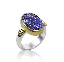 Carved Tanzanite Ring by Nancy Troske (Gold, Silver, & Stone Ring)
