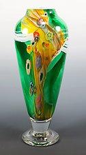 Green Colorfield Vase by Mark Rosenbaum (Art Glass Vase)