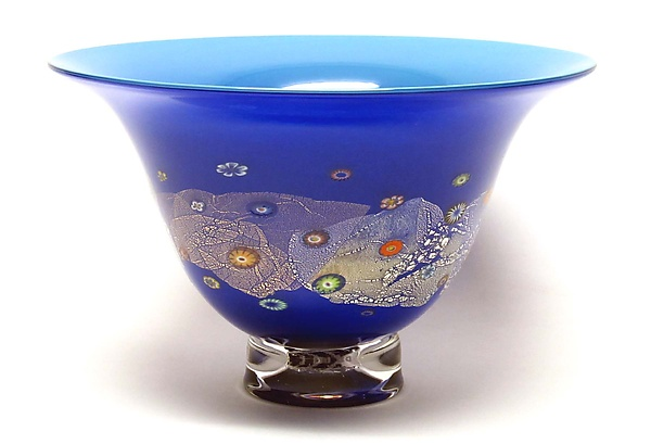 Azure Blue and Cobalt Blossom Bowl