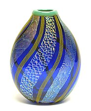 Cobalt Dichroic Vase by Ken Hanson and Ingrid Hanson (Art Glass Vase)