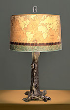 Bronze Tree Table Lamp with Large Drum Shade in Sand Map by Janna Ugone (Mixed-Media Table Lamp)