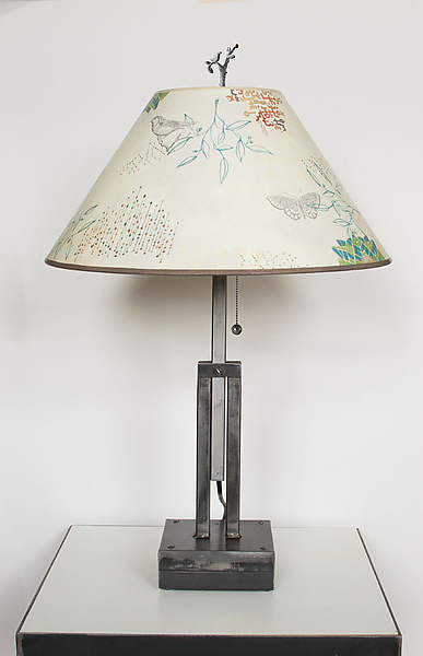Adjustable Height Steel Table Lamp with Large Conical Shade in Ecru Journey