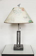 Adjustable Height Steel Table Lamp with Large Conical Shade in Ecru Journey by Janna Ugone (Mixed-Media Table Lamp)