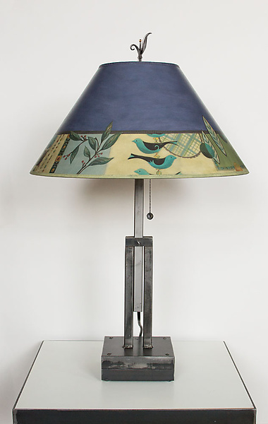 Adjustable Height Steel Table Lamp with Large Conical Shade in New Capri Periwinkle