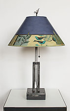 Adjustable Height Steel Table Lamp with Large Conical Shade in New Capri Periwinkle by Janna Ugone (Mixed-Media Table Lamp)