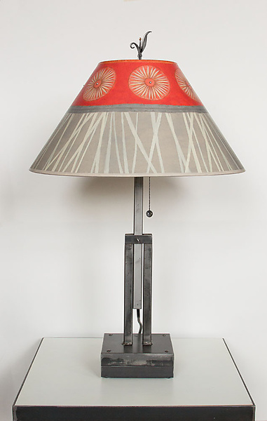 Adjustable Height Steel Table Lamp with Large Conical Shade in Tang