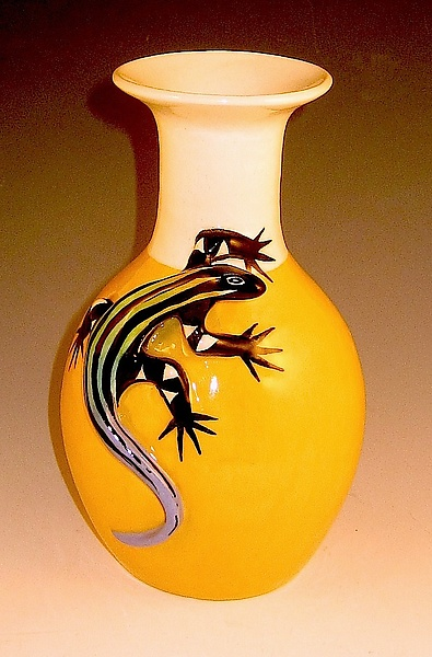 Yellow Vase with Blue Tailed Skink