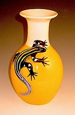 Yellow Vase with Blue Tailed Skink by Lisa Scroggins (Ceramic Vase)