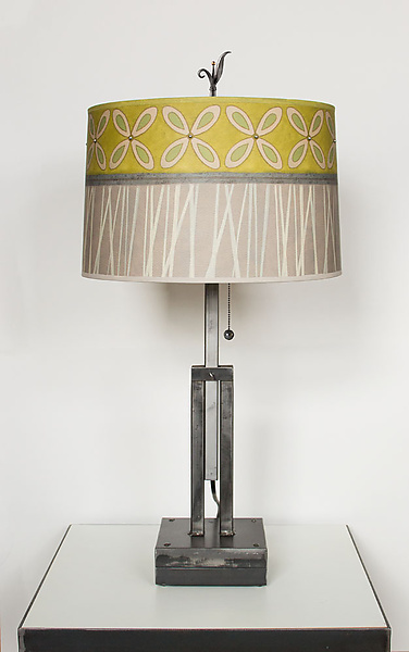 Adjustable Height Steel Table Lamp with Large Drum Shade in Kiwi