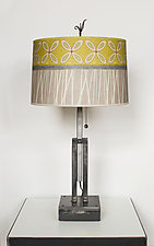 Adjustable Height Steel Table Lamp with Large Drum Shade in Kiwi by Janna Ugone (Mixed-Media Table Lamp)