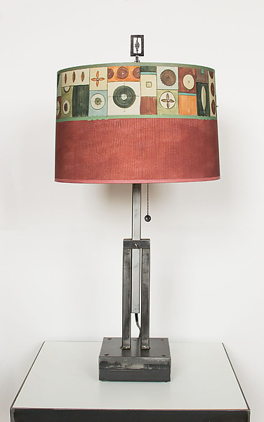 Adjustable Height Steel Table Lamp with Large Drum Shade in Lucky Mosaic