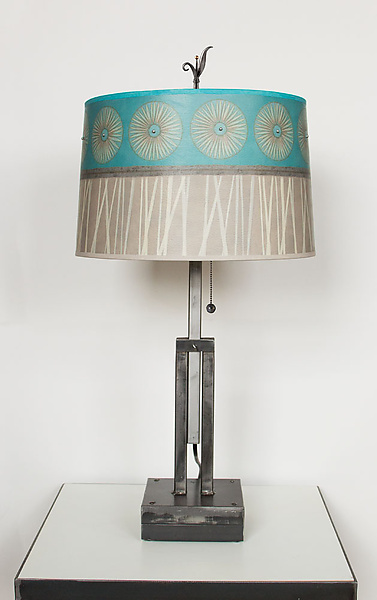 Adjustable Height Steel Table Lamp with Large Drum Shade in Pool