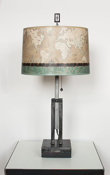 Adjustable Height Steel Table Lamp with Large Drum Shade in Sand Map