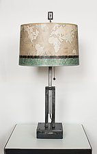 Adjustable Height Steel Table Lamp with Large Drum Shade in Sand Map by Janna Ugone (Mixed-Media Table Lamp)