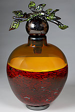 Grana Crven i Zut (Branch Vessel Red and Yellow) by Eric Bladholm (Art Glass Vessel)
