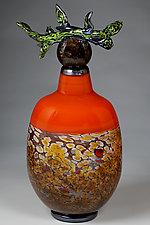 Grana Crven Jesen (Branch Vessel Red Autumn) by Eric Bladholm (Art Glass Vessel)