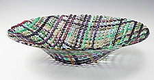 Napa Valley Harvest Round Quilt Basket by Ed Edwards (Art Glass Bowl)
