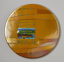 Amber Window Round by Lynn Latimer (Art Glass Wall Sculpture)