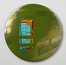 Fern Window Round by Lynn Latimer (Art Glass Wall Sculpture)