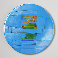 Turquoise Window Round by Lynn Latimer (Art Glass Wall Sculpture)