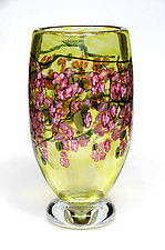 Cherry Blossom Vase with Crystal Foot by Shawn Messenger (Art Glass Vase)