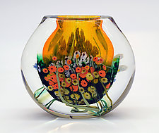 Landscape Series Vase Tangerine by Shawn Messenger (Art Glass Vase)