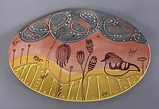 Oval Deco Tray in Pink by Abby Salsbury (Ceramic Tray)