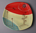 Small Deco Plate in Red and Cream by Abby Salsbury (Ceramic Plate)