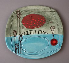 Small Floral Deco Plate by Abby Salsbury (Ceramic Plate)