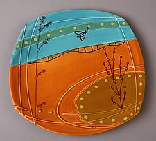 Small Deco Plate in Orange by Abby Salsbury (Ceramic Plate)