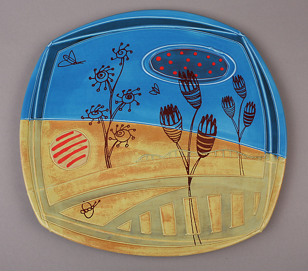Large Deco Plate with Butterflies