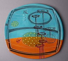 Large Floral Deco Plate by Abby Salsbury (Ceramic Plate)