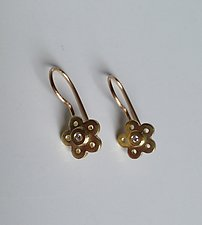 18k Gold Flower and Diamond Earrings by Elisa Bongfeldt (Gold, & Stone Earrings)