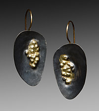 Oxidized Dimple Earrings by Peg Fetter (Gold & Silver Earrings)