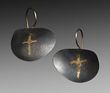 Cross Earrings by Peg Fetter (Gold & Silver Earrings)