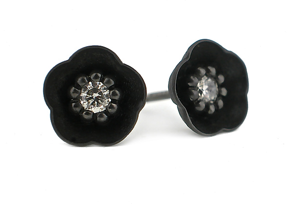 Cherry Blossom Stud #1 in Blackened Silver and Diamonds