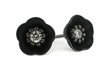 Cherry Blossom Stud #1 in Blackened Silver and Diamonds by Catherine Iskiw (Silver & Stone Earrings)