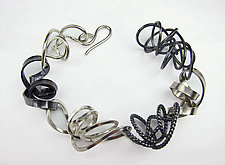 Mixed Texture Wire Bracelet by Rina S. Young (Silver Bracelet)