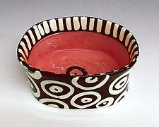 Orange Red Oval Bowl by Matthew A. Yanchuk (Ceramic Bowl)
