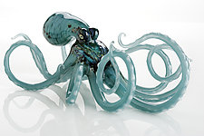 Octopus in Aqua by Jennifer Caldwell and Jason Chakravarty (Art Glass Sculpture)